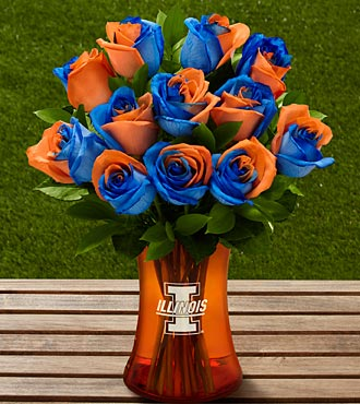The FTD® University of Illinois™ Fighting Illini® Rose Bouquet- 12 Stems-VASE INCLUDED