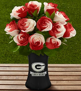 The FTD&reg; Georgia&reg; Bulldogs&reg; Rose Bouquet - 12 Stems - VASE INCLUDED
