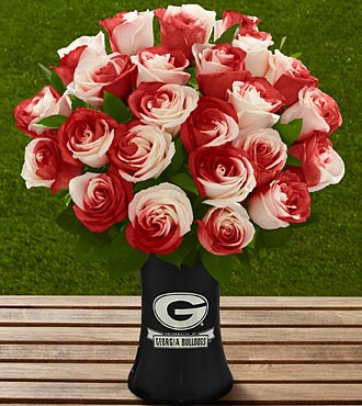 The FTD&reg; Georgia&reg; Bulldogs&reg; Rose Bouquet - 24 Stems - VASE INCLUDED