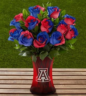 The FTD&reg; University of Arizona&reg; Wildcats&trade; Rose Bouquet - 12 Stems - VASE INCLUDED
