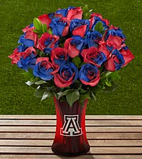 The FTD&reg; University of Arizona&reg; Wildcats&trade; Rose Bouquet - 24 Stems - VASE INCLUDED