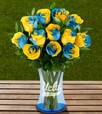 The FTD® UCLA Bruins® Rose Bouquet - 12 Stems - VASE INCLUDED