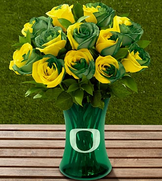 The FTD® University of Oregon® Ducks™ Rose Bouquet - 12 Stems - VASE INCLUDED