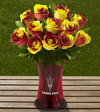 The FTD® Arizona State University® Sun Devils® Rose Bouquet - 12 Stems - VASE INCLUDED