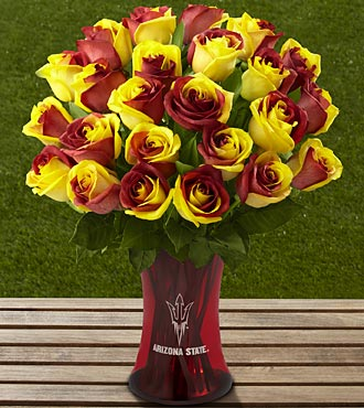 The FTD® Arizona State University® Sun Devils® Rose Bouquet - 24 Stems - VASE INCLUDED
