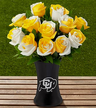 The FTD&reg; University of Colorado Buffaloes&trade; Rose Bouquet - 12 Stems-VASE INCLUDED