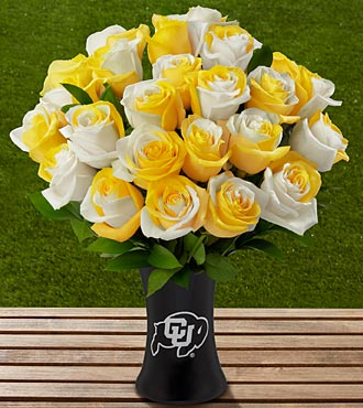The FTD® University of Colorado Buffaloes™ Rose Bouquet - 24 Stems-VASE INCLUDED