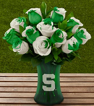 The FTD&reg; Michigan State University Spartans&reg; Rose Bouquet - 12 Stems - VASE INCLUDED