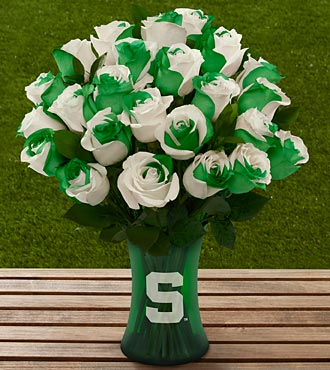 The FTD® Michigan State University Spartans® Rose Bouquet - 24 Stems - VASE INCLUDED