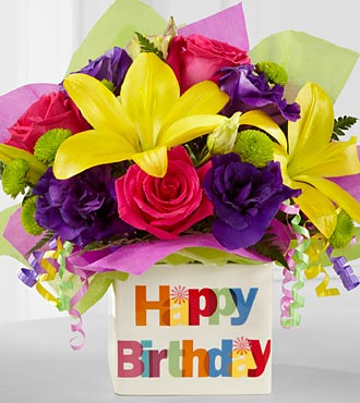 The Happy Birthday Bouquet by FTD&reg; - VASE INCLUDED