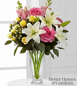 The FTD® Blooming Rose & Lily Bouquet by Better Homes and Gardens® - 9 Stems - VASE INCLUDED