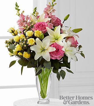 The FTD® Blooming Rose & Lily Bouquet by Better Homes and Gardens® -15 Stems - VASE INCLUDED