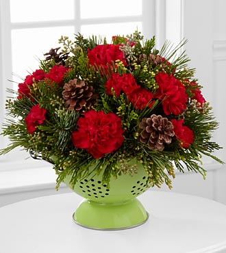 Merry Christmas Colander Flower Arrangement - 9 Stems - COLANDER INCLUDED