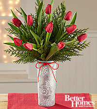 The FTD ® Snowfall Sightings Holiday Tulip Bouquet by Better Homes and Gardens ® VASE INCLUDED