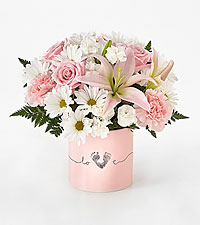 The FTD ® Tiny Miracle™ New Baby Girl Bouquet - VASE INCLUDED