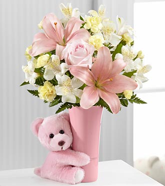 The Baby Girl Big Hug&reg; Bouquet by FTD&reg; - VASE INCLUDED