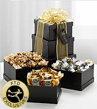 The FTD&reg; Exclusive Ebony and Gold Tower of Goodies