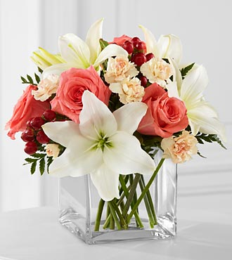 The Blushing Beauty&trade; Bouquet by FTD&reg; - VASE INCLUDED