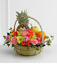 The FTD ® Rest in Peace™ Fruit & Flowers Basket