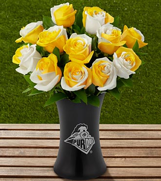 The FTD&reg; Purdue University&reg; Boilermakers&reg; Rose Bouquet - 12 Stems - VASE INCLUDED