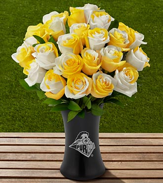 The FTD&reg; Purdue University&reg; Boilermakers&reg; Rose Bouquet - 24 Stems - VASE INCLUDED