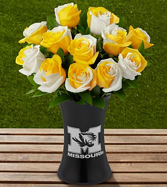 The FTD® University of Missouri® Tigers™ Rose Bouquet - 12 Stems - VASE INCLUDED