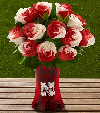 The FTD® University of Nebraska® Huskers® Rose Bouquet - 12 Stems - VASE INCLUDED