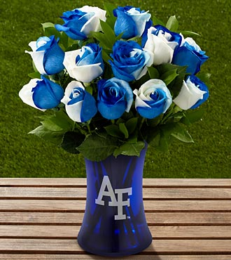The FTD® US Air Force Academy™ Fightin' Falcons™ Rose Bouquet-12 Stems-VASE INCLUDED