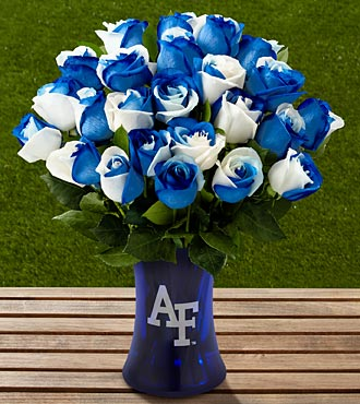 The FTD® US Air Force Academy™ Fightin' Falcons™ Rose Bouquet-24 Stems-VASE INCLUDED