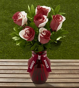 The FTD® Texas A&M University® Aggies™ Rose Bouquet - 6 Stems - VASE INCLUDED