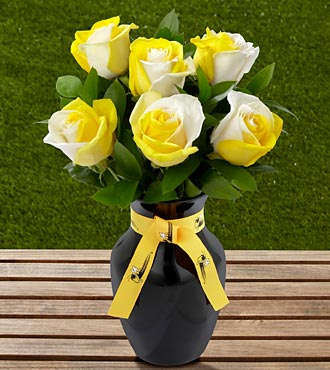 The FTD&reg; Georgia Tech&reg; Yellow Jackets&reg; Rose Bouquet - 6 Stems - VASE INCLUDED