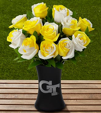 The FTD® Georgia Tech® Yellow Jackets® Rose Bouquet - 12 Stems - VASE INCLUDED