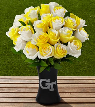 The FTD® Georgia Tech® Yellow Jackets® Rose Bouquet - 24 Stems - VASE INCLUDED