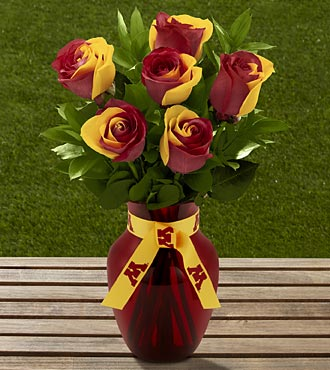 The FTD® University of Minnesota™ Golden Gopher™ Rose Bouquet -6 Stems-VASE INCLUDED