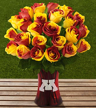 The FTD&reg; University of Minnesota&trade; Golden Gopher&trade; Rose Bouquet-24 Stems-VASE INCLUDED