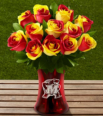 The FTD&reg; University of Maryland&reg; Terrapins&trade; Rose Bouquet - 12 Stems - VASE INCLUDED