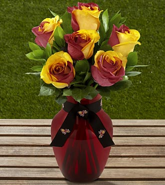 The FTD&reg; Arizona State University&reg; Sun Devils&reg; Rose Bouquet - 6 Stems - VASE INCLUDED