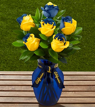 The FTD&reg; University of California Golden Bears&trade; Rose Bouquet - 6 Stems - VASE INCLUDED
