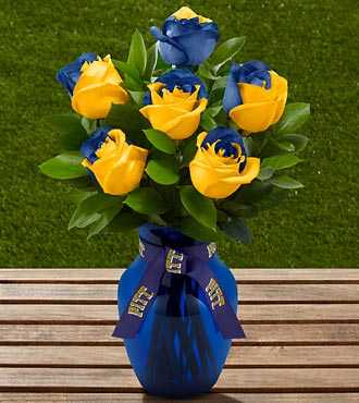 The FTD&reg; University of Pittsburgh&reg; Panthers&trade; Rose Bouquet - 6 Stems - VASE INCLUDED