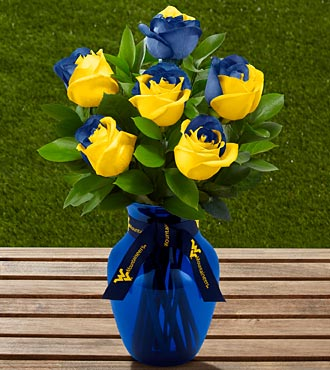 The FTD&reg; West Virginia University&reg; Mountaineers&reg; Rose Bouquet - 6 Stems - VASE INCLUDED