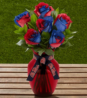The FTD® University of Mississippi® Rebels™ Rose Bouquet - 6 Stems - VASE INCLUDED