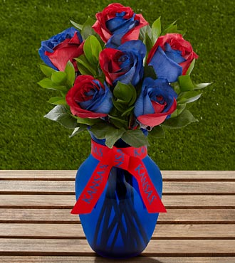 The FTD&reg; University of Kansas&reg; Jayhawks&reg; Rose Bouquet - 6 Stems - VASE INCLUDED