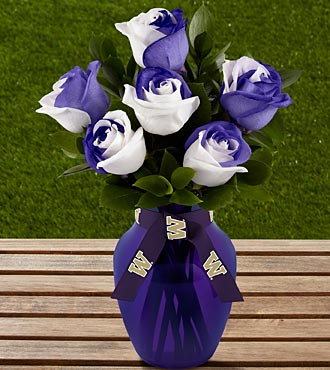 The FTD® University of Washington® Huskies® Rose Bouquet - 6 Stems - VASE INCLUDED