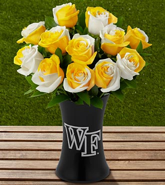 The FTD® Wake Forest University™ Demon Deacons™ Rose Bouquet -12 Stems-VASE INCLUDED