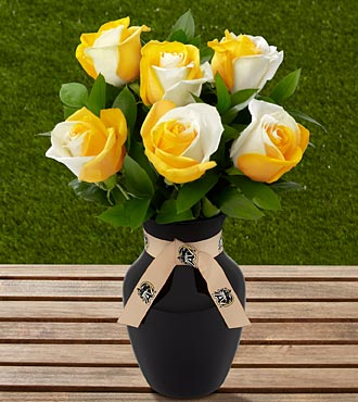 The FTD&reg; US Military Academy&reg; Black Knights&reg; Rose Bouquet - 6 Stems - VASE INCLUDED