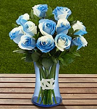 The FTD® University of North Carolina® Tar Heels® Rose Bouquet -12 Stems - VASE INCLUDED