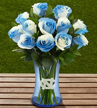 The FTD&reg; University of North Carolina&reg; Tar Heels&reg; Rose Bouquet -12 Stems - VASE INCLUDED