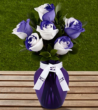 The FTD&reg; Northwestern University&reg; Wildcats&trade; Rose Bouquet - 6 Stems - VASE INCLUDED