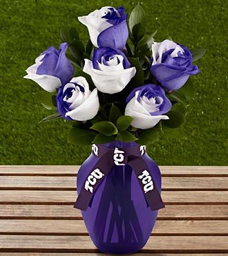 The FTD® Texas Christian University™ Horned Frogs™ Roses - 6 Stems - VASE INCLUDED