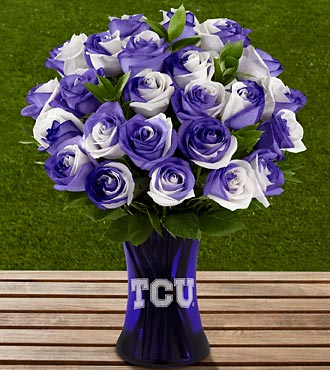 The FTD&reg; Texas Christian University&trade; Horned Frogs&trade; Roses - 24 Stems - VASE INCLUDED
